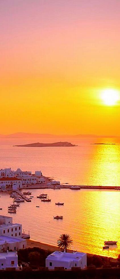 Sunset in Mykonos, Greece