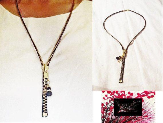 Black zipper necklace by KassiArtFashion on Etsy