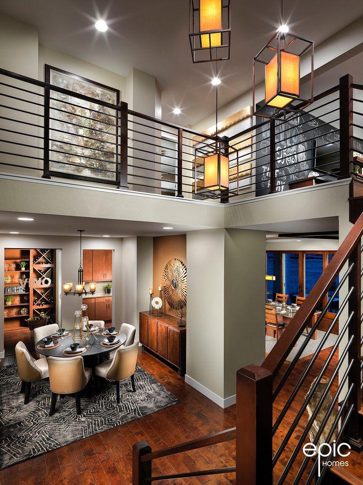 Summit Model  Entry View of Stairway, Dining, Bonus Room - 3498 sq ft Model - Epic Homes, Leyden Rock, Arvada Colorado
