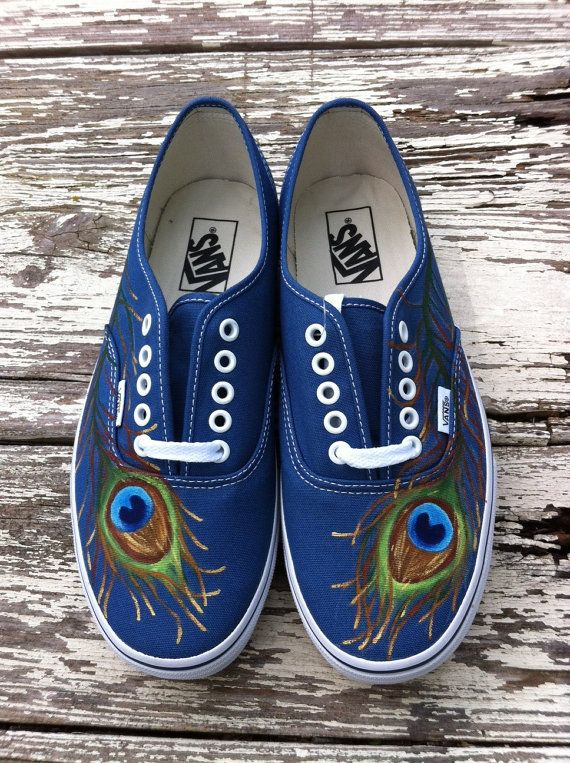 Custom hand painted vans Pretty as a Peacock by solereflections, $55.00