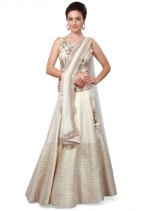 Cream lehenga embellished in gotta patti lace embroidery only on Kalki
