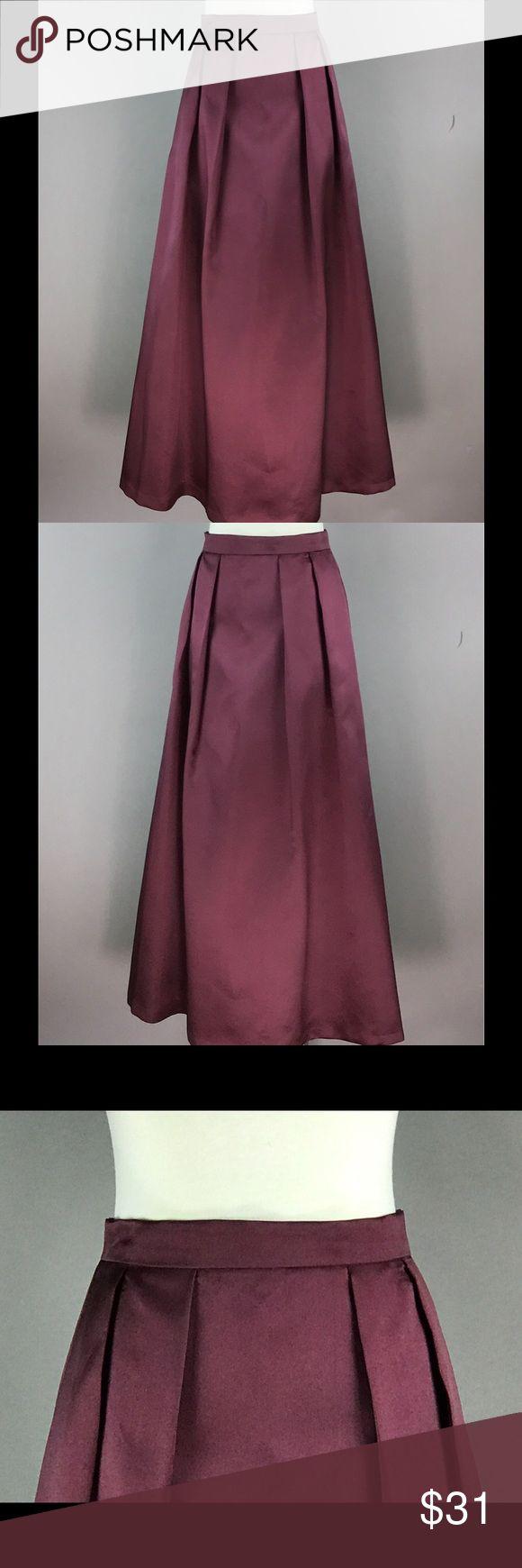 XSCAPE Red Burgundy Maxi Skirt Line Metallic NEW XSCAPE Red Burgundy Ball Maxi Skirt Size 8 A Line Metallic Glossy Pleated Back Zip Lined NEW Xscape Skirts Maxi