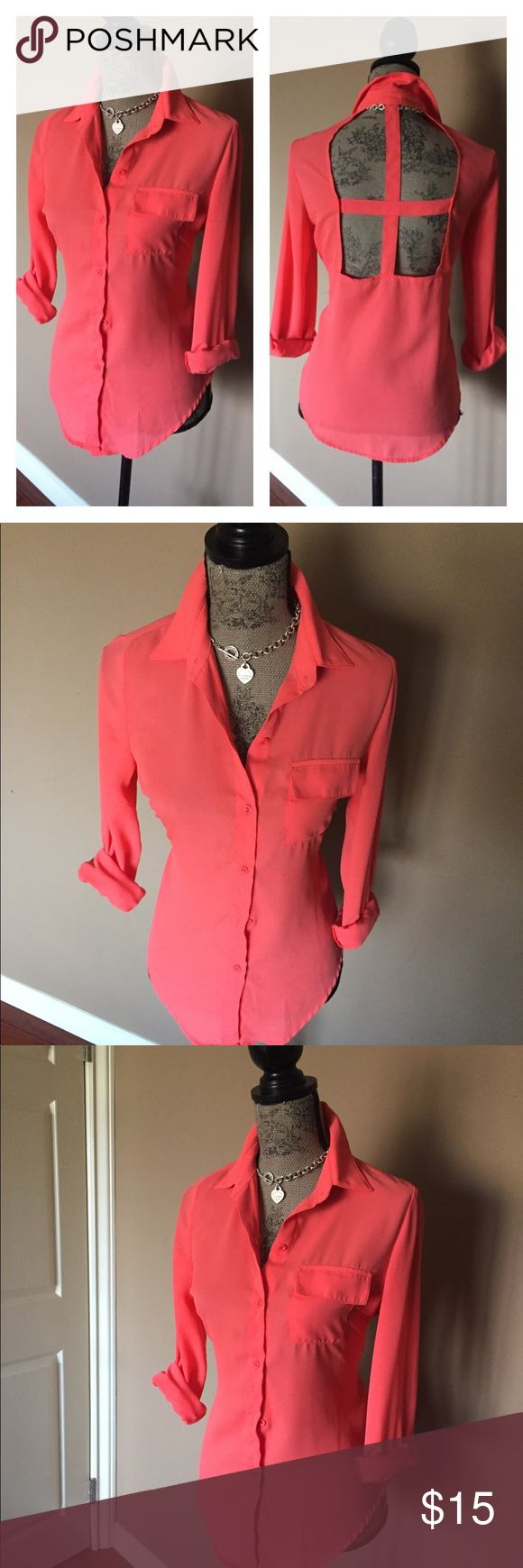 "Coral Shirt In excellent condition. No stains, tears or defects. 100% polyester. This shirt Looks great with skinny jeans or dressy pants or even tucked into a skirt. Chest size 38"" sleeves 24"" length 27"".. My PRICE IS FIRM, bundle for extra savings ty TeenBell Tops Button Down Shirts"