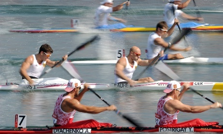 Jonas Ems and Ronald Rauhe of Germany compete in the men's kayak double 200m Canoe Sprint heats at Eton Dorney.