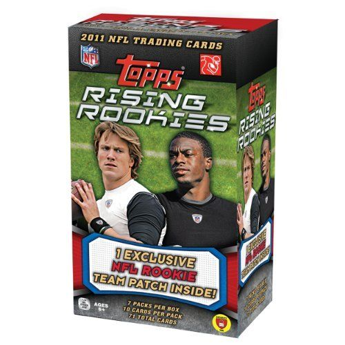 NFL 2011 Topps Rising Rookies Blaster (7 Packs) by Topps. $24.99. Top 2011 NFL Draft Picks, 5 Rookie Cards in Every Pack, 21 Insert Cards In Every 24 packs. Look for a rookie base parallel in each pack, with 5 parallel versions of each player, limited to as scarce as 1 of 25 Green and 1 per pack Gold versions. Look for 25 shortprint rookies, 100 regular rookies, and 100 veterans in the complete set. 7 packs of 10 cards per pack, PLUS Bonus Rookie Relic Patch card exclu...