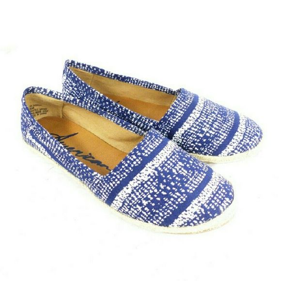 American Rag Owen Blue and White Espadrille Flats Thanks for viewing my listing. I take all my own pics. The shoes are authentic and new in box. Shoes are made of textile. American Rag Shoes Espadrilles