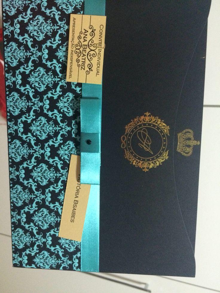 Convite azul tiffany e preto