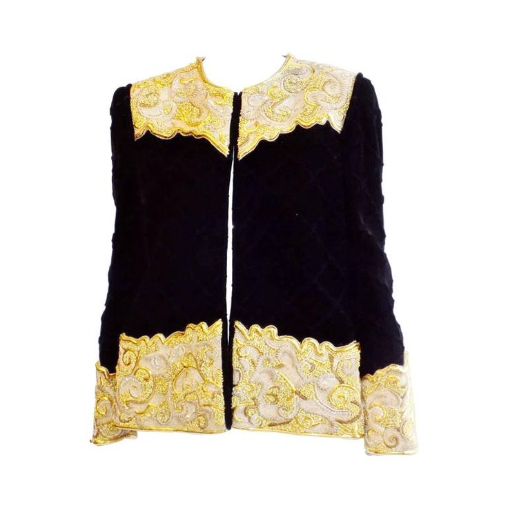 Michael NOVARESE Vintage  velvet  diamond quilt gold embroidery beaded jacket | From a collection of rare vintage jackets at https://www.1stdibs.com/fashion/clothing/jackets/