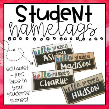 Don't want HUGE name plates on your student's desks? These name tags are 9.5 x 4.5 inches and fit perfectly on desks! All you need to do is type in your student's names, print on cardstock and laminate or cover on their desks! Could also be used as name tags OR