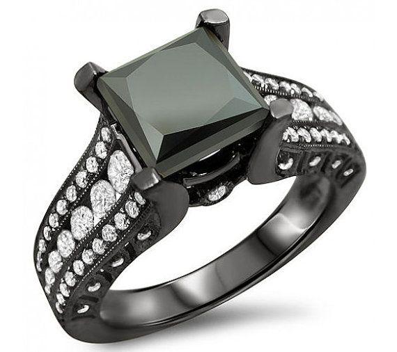 3.15ct Black Princess Cut Diamond Engagement Ring 18k Black