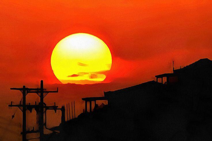 Sunset in Batsi. Andros, Greece