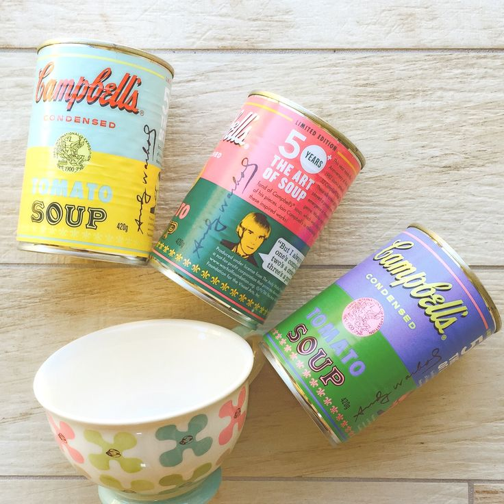 Soup anyone? This is a cherished limited edition Campbell's Kitchen Andy Warhol tribute. The tomato soup cans have been inspired by the artist's paintings. #AndyWarholFoundation #SoupKitchen #TomatoSoup #FashionPolice #FashionNetwork #FashionBloggers #fashion #FrockUp #Style #StyleNetwork #WatchItStyleItBlogIt #NewYorkAcademyOfArt