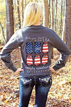Preppy Long Sleeve USA Tee $24.99 #SouthernFriedChics