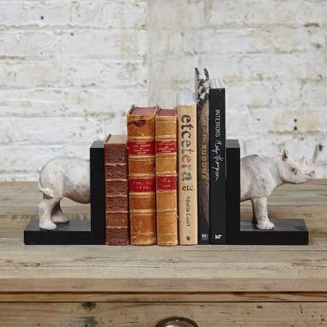 African Rhino Bookends, Very Eclectic! from The Farthing
