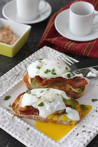 Poached Egg on Toast with Chipotle Mayonnaise, Bacon & Avocado