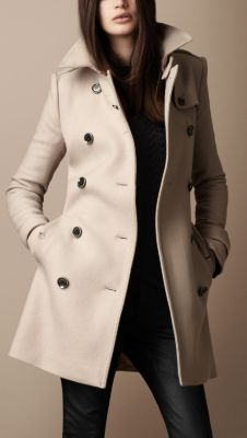 Trench coat en sarga de lana de longitud media, Burberry