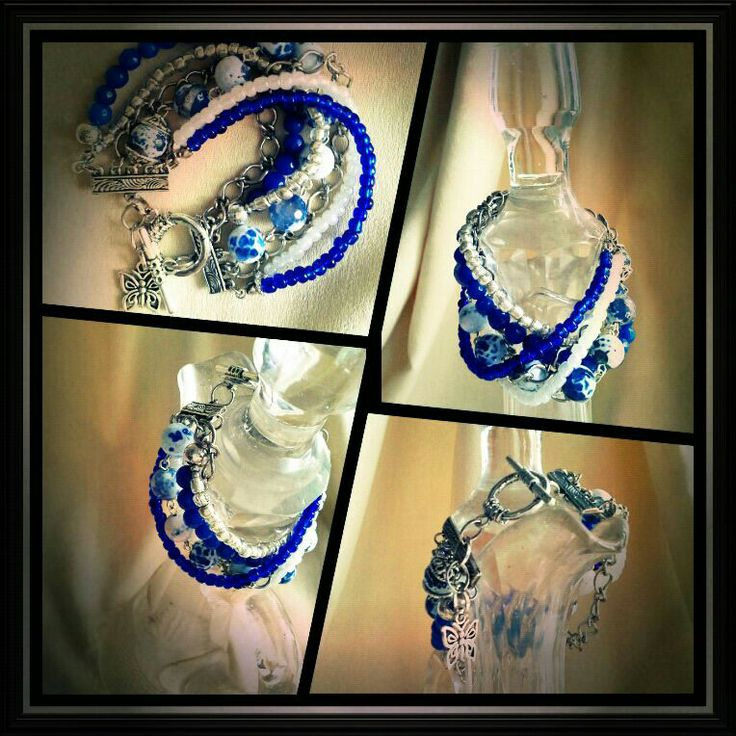 #beautiful #stone #blue #white #bracelet #handmade