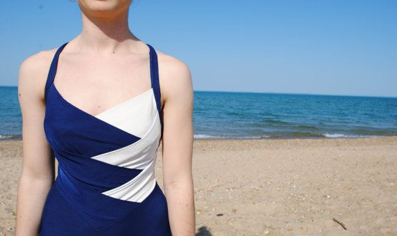 Blue and White One Piece Navy Blue Swimsuit by DeadGirlsVintage