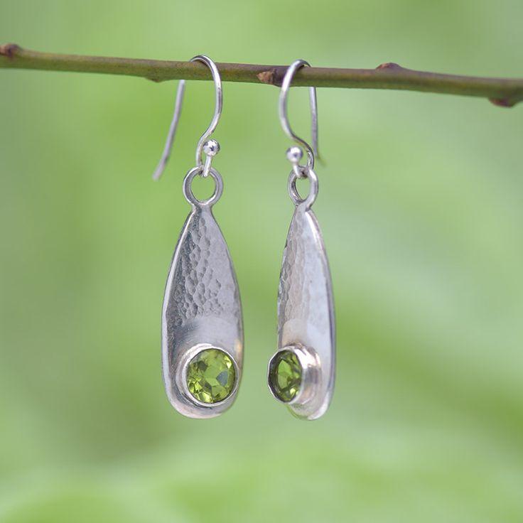 Handmade, Sterling Silver Earrings with Peridot, Peridot Earrings, Green, Birthstone, Designer Jewellery by ianaJewellery on Etsy