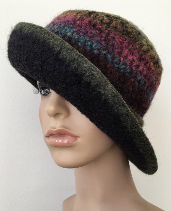 Wool Cloche Hat Felted Wool Hat Wide Brim Felted Hat Women's Felted Hat Unique Felted Hat – Products