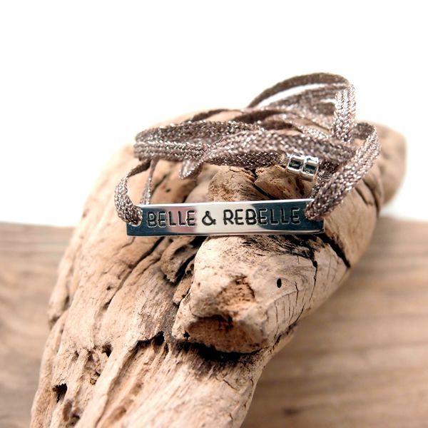 Bracelet personnalisé plaque à graver en argent 925 sur cordon corde parachute, taille réglable par noeuds coulissants