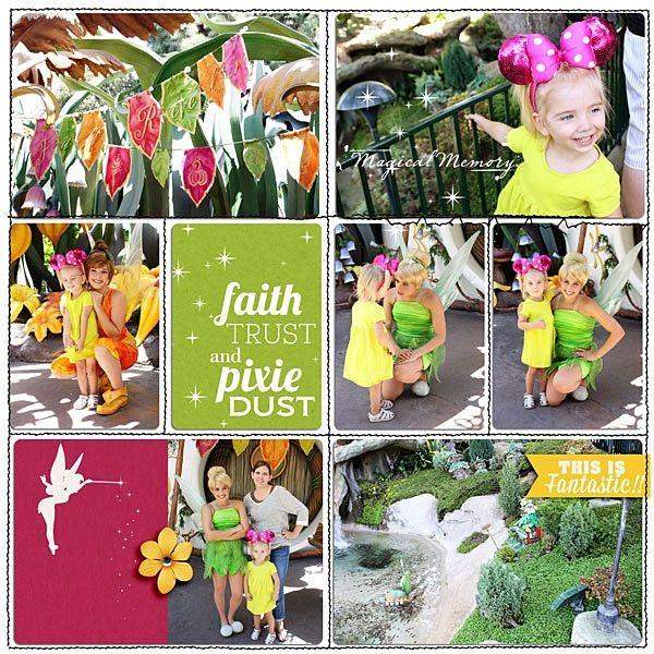 "A Look at #Disney #Scrapbooking with Lynnette of Scrapping is Life - Isn't this a wonderful design that just says ""Tink"" all over it?"