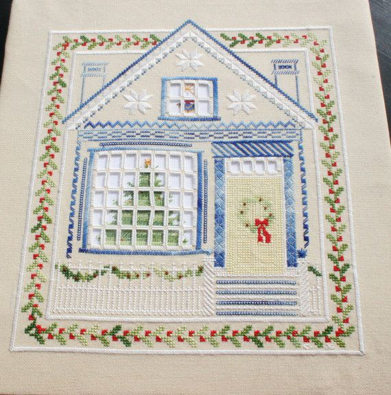 Hardanger+Christmas+House+with+Cross+Stitch+by+norwegianneedle,+$75.00 I like the idea of the window with the tree showing from behind