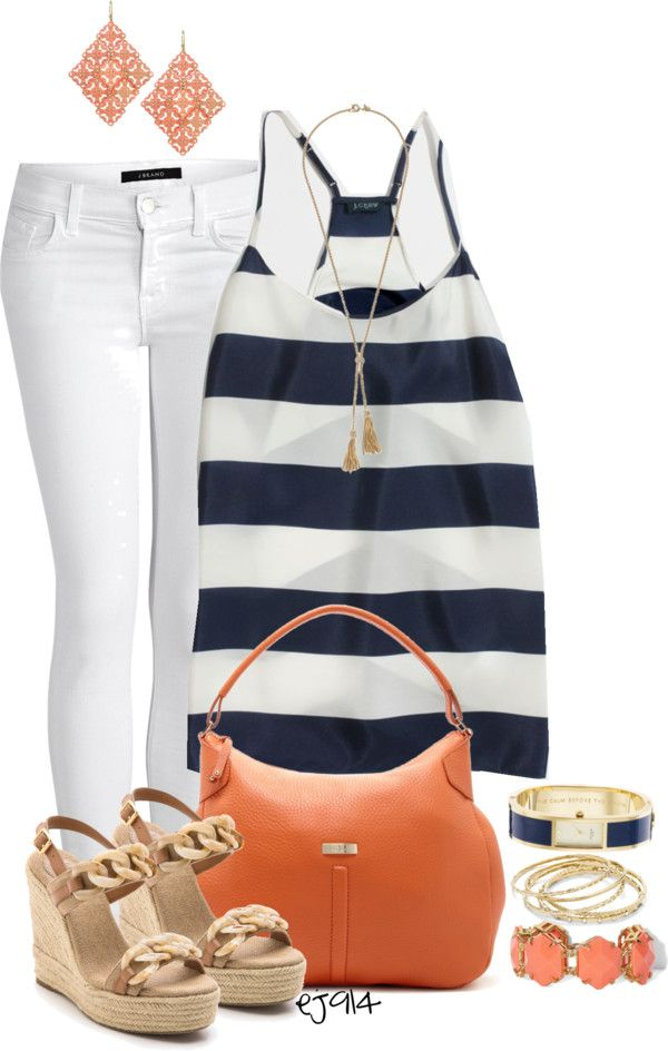 Coral navy and white