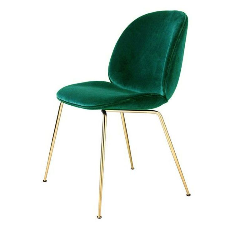 Chaise Beetle velours vert - piétement laiton - Gubi - The Conran Shop