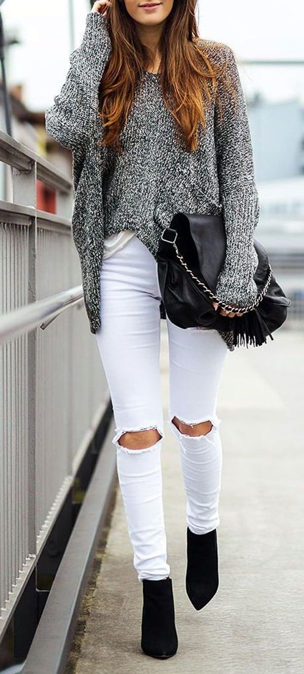 45 Casual White Jeans Outfits for 2016 - Best 25+ White Jeans Winter Ideas On Pinterest White Jeans