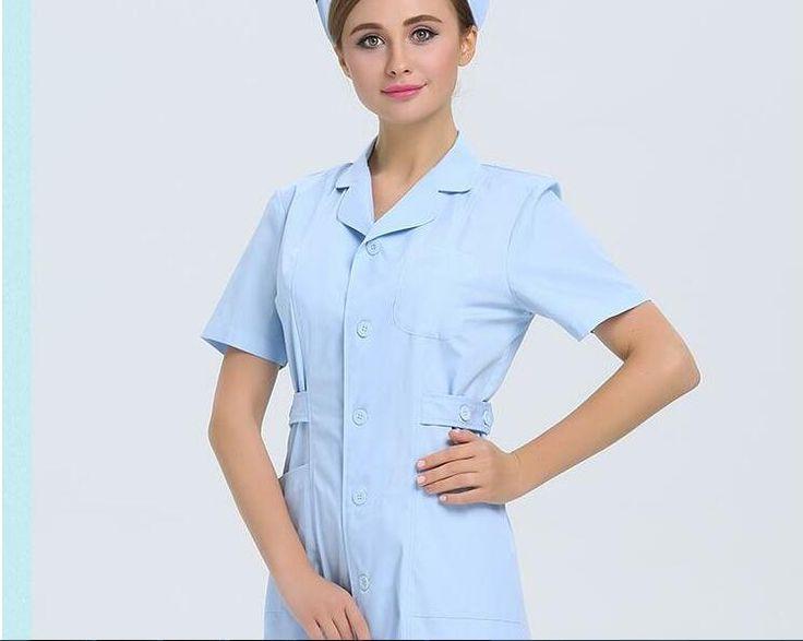 2017 summer new women cotton nurse uniform design surgical cap lab elegant work hospital uniforms white medical clothes