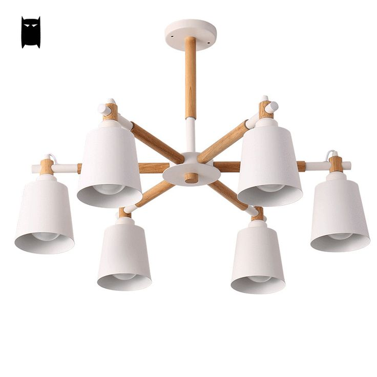 Oak Wood White Chandelier Ceiling Lamp Fixture Modern Nordic Pendant Light Salon Soleilchat