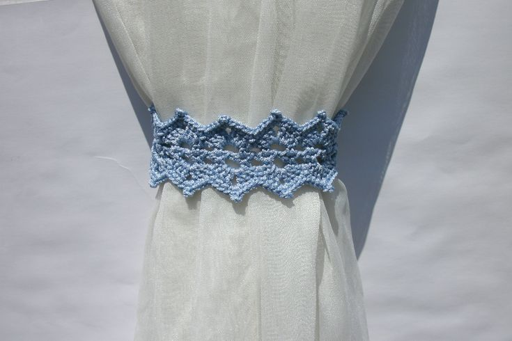 Blue curtain holdback Crochet curtain ties Curtain tie backs Curtain tiebacks…