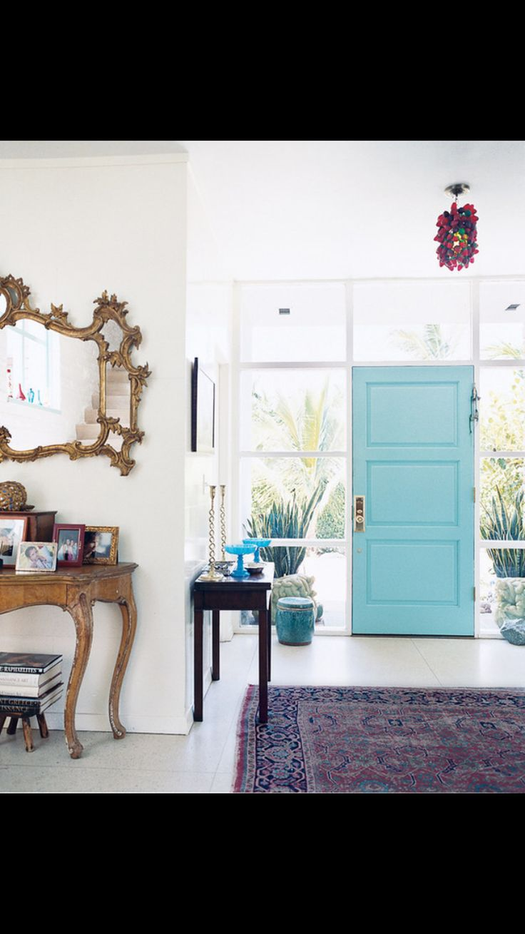 Go for an extra pop of color on the inside of your front door.