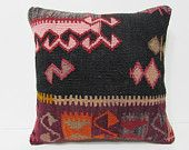 country kilim pillow 20x20 floral pillow case 50x50 kilim pillow modern pillow cover urban pillow case living room decor black pillows 26724