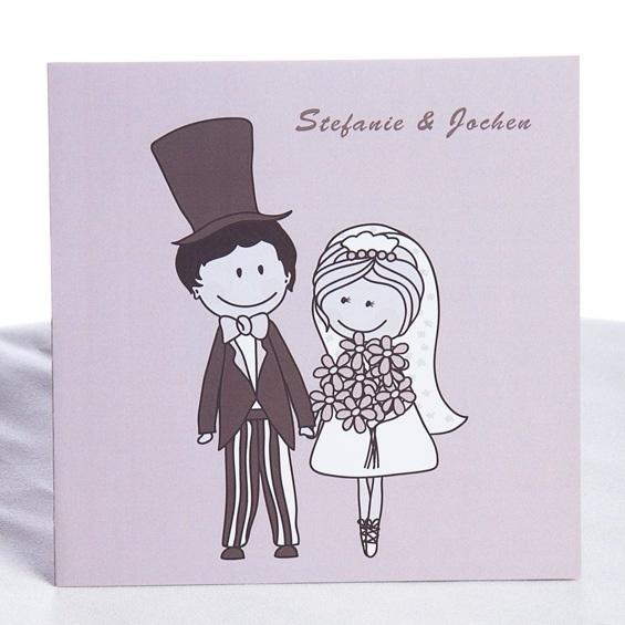 Braut und Braeutigam comic Einladungskarten KP109