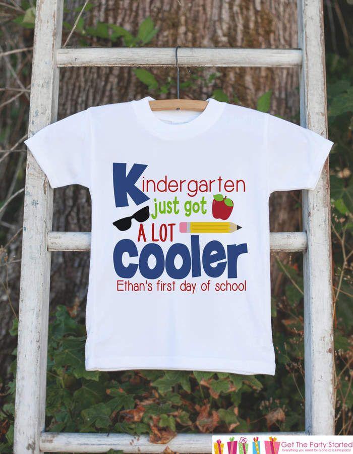 Etsy Boys Kindergarten Outfit - Personalized Kindergarten Just Got Cooler Shirt - Kids Back to School Shi
