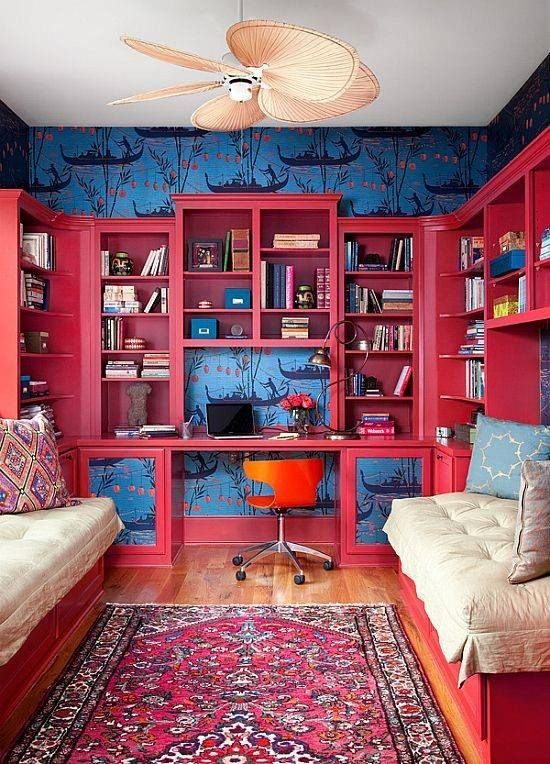 blue chinoiserie wallpaper // pink bookshelves