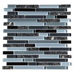 Glass Tile - Bellavita Sierra Vista - SVBPG Blue Pearl Blend - Mixed Size Glass and Polished Granite Mosaic - Glossy