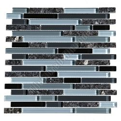 Glass Tile - Bellavita Sierra Vista - SVBPG Blue Pearl Blend - Mixed Size Glass and Polished Granite Mosaic - Glossy