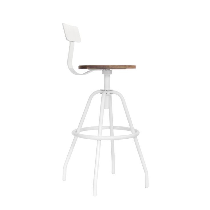Swivel Studio Work Stool - White - White Powder Coated Steel with Black Walnut