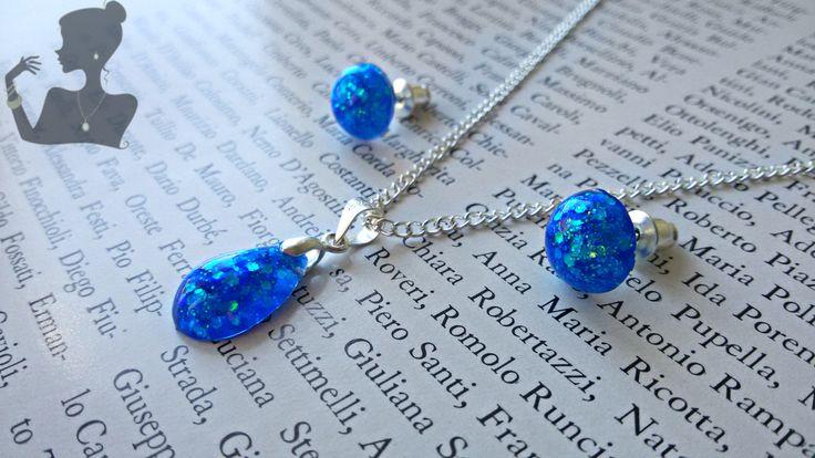 Earrings and pendant gliter, minimal earrings,piccoli orecchini a perno,orecchini glitter, piccoli perni resina, orecchini titanio di ByMLjewellery su Etsy