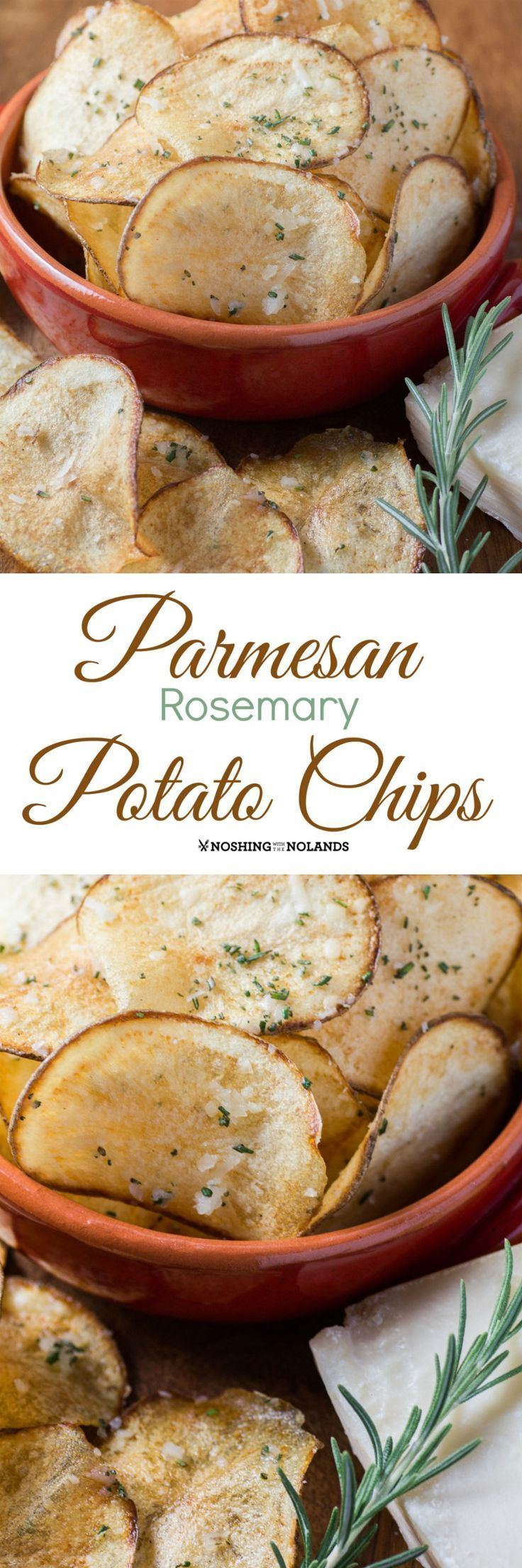 Parmesan Rosemary Potato Chips by Noshing With The Nolands is flavorful treat for the holidays, game day or any day. Family and friends will be in awe!