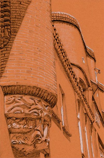 Postcards from Amsterdam #21 Spaarndammerbuurt II. Charcoal and white chalk on colored paper. 15 x 21 cm. http://www.postcardsfromamsterdam.eu