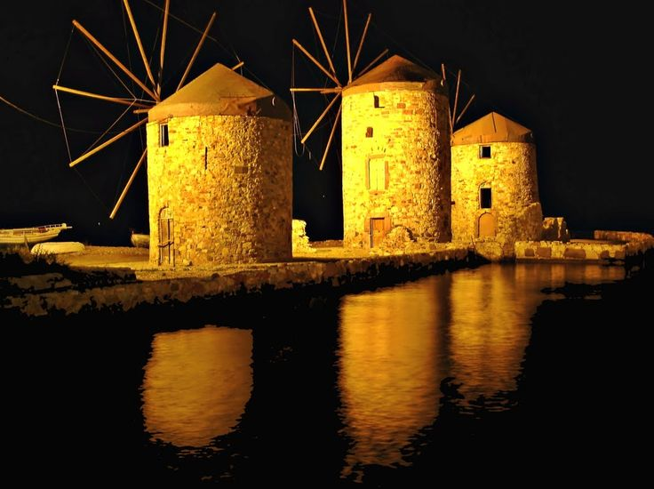 Windmills and reflections, #Chios #greece #windmills