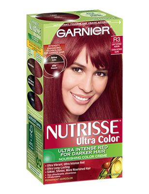 Garnier Nutrisse Ultra Color R3 - Light Intense Auburn; only $8 a box. if you paint it on your hair with a mid size paint brush from the dollar store the color will come out even and look like a professional dye job. the dye really does work on dark hair without bleaching.