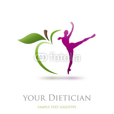 Logo diet, dietician. Dancer and green apple # Vector by ...