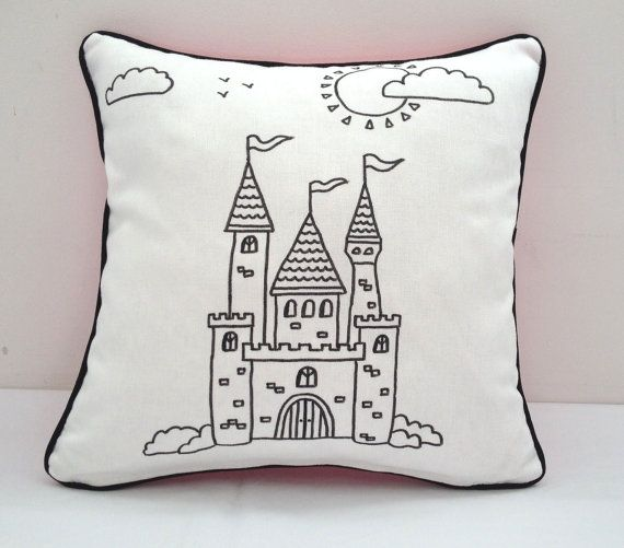 Colouring In Castle Design Cushion Cover | Kids Hand Drawn Black