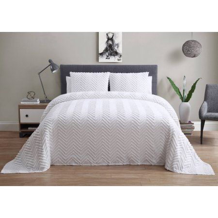 Vcny Home Antigua Chevron Plush 3 Piece Bedspread, Multiple Colors and Sizes Available, White