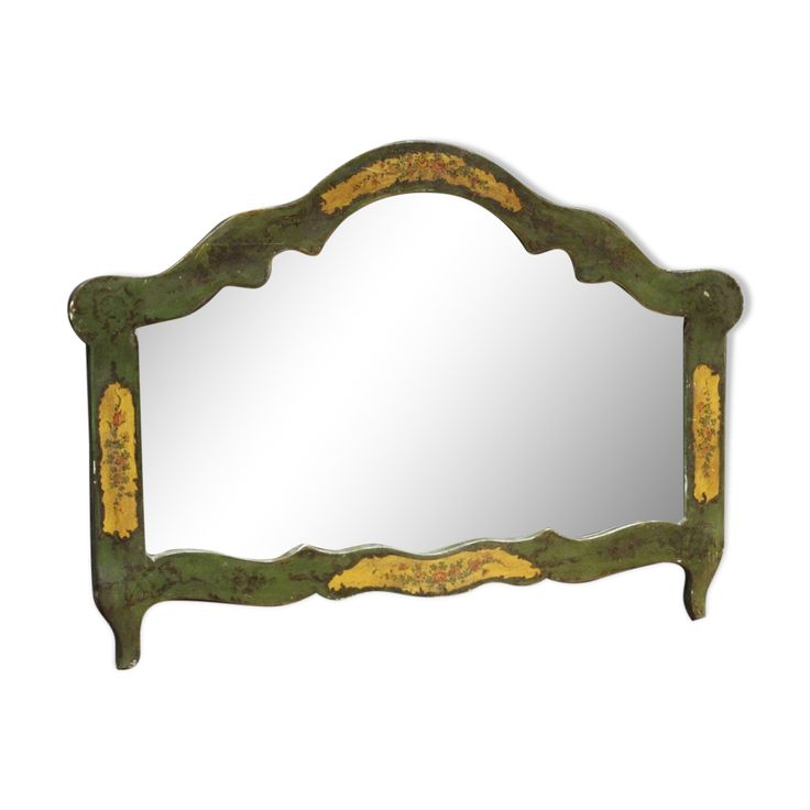 Miroir Venitien En Bois Laque Et Peint 83x115cm Miroirs Venitiens Miroir Et Bois